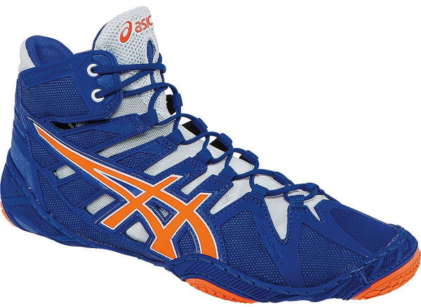 Asics Omniflex Attack True Blue Shocking Orange White Wrestling Shoes