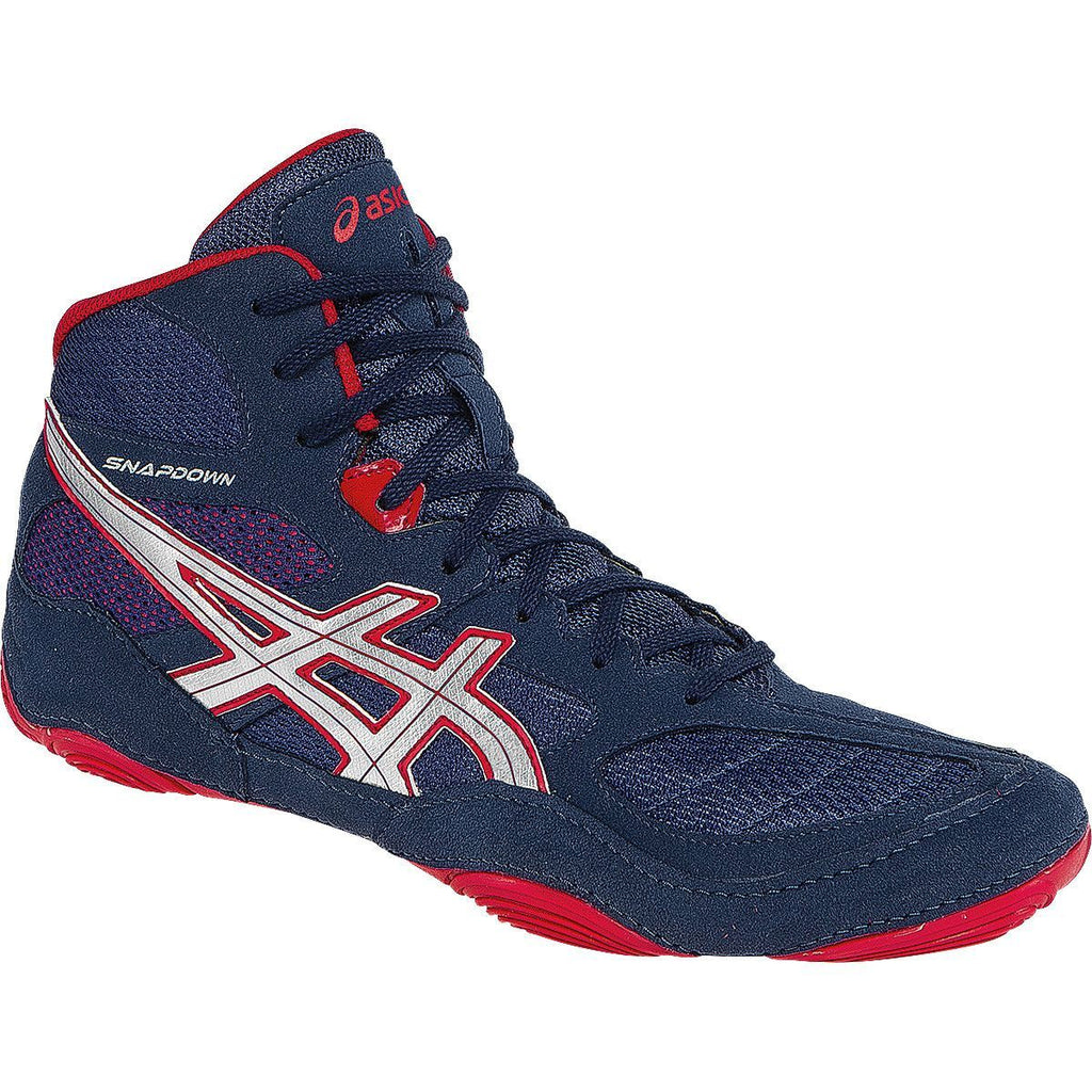 Asics Snapdown Navy Silver Red Wrestling Shoes