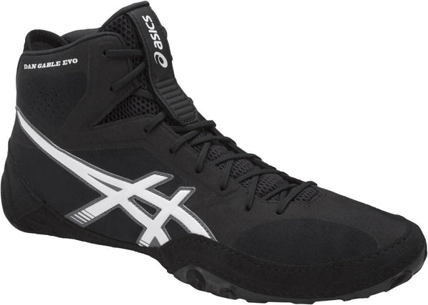 asics dan gable evo wrestling shoes black white carbon