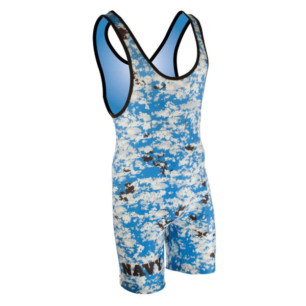 Matman Digital Camo Stock Wrestling Singlet Navy