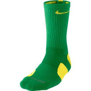 NIke Elite Cushioned Crew Apple Green Yellow Striek Socks