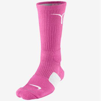 NIke Elite Cushioned Crew Pink White Socks