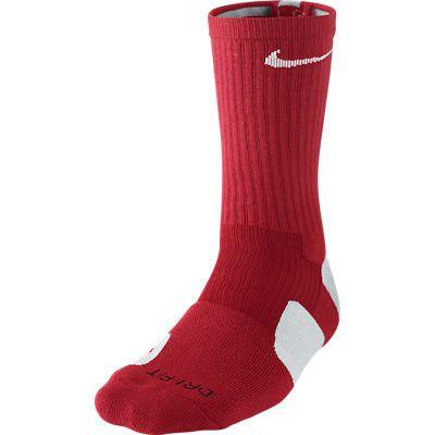 NIke Elite Cushioned Crew Red White Socks