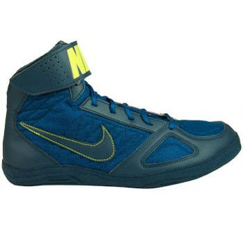 Nike Takedown 4 Blue Sapphire Volt Court Blue Wrestling Shoes
