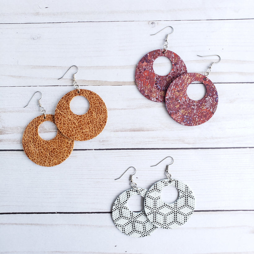 Circle Cut Out Leather Earrings