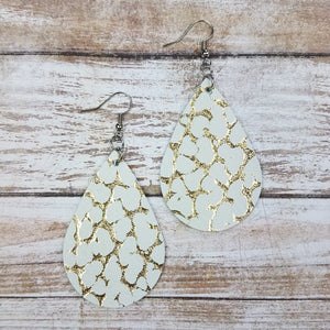 Gold Crackle Leather Drop Earrings