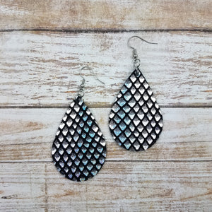 Iridescent Fishscales Leather Drop Earrings