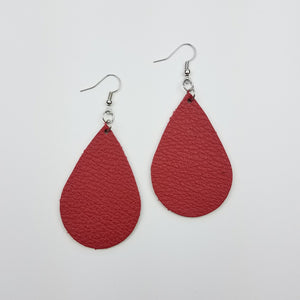 Red Leather Drop Earrings
