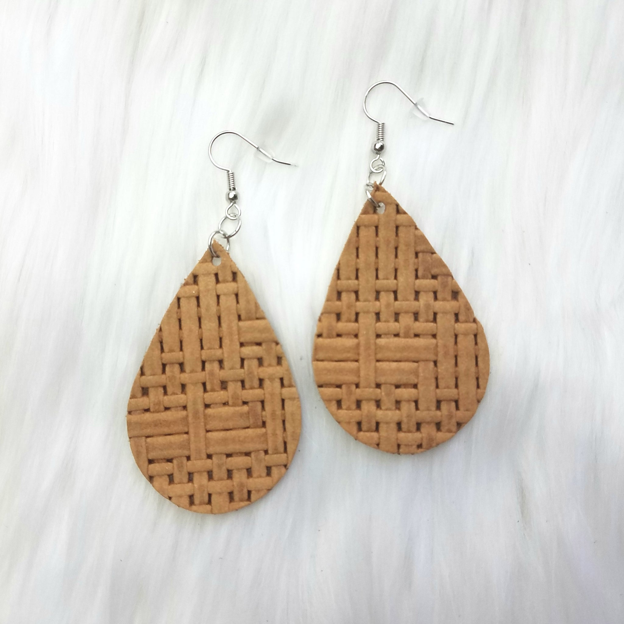 Honey Basketweave Leather Drop Earrings