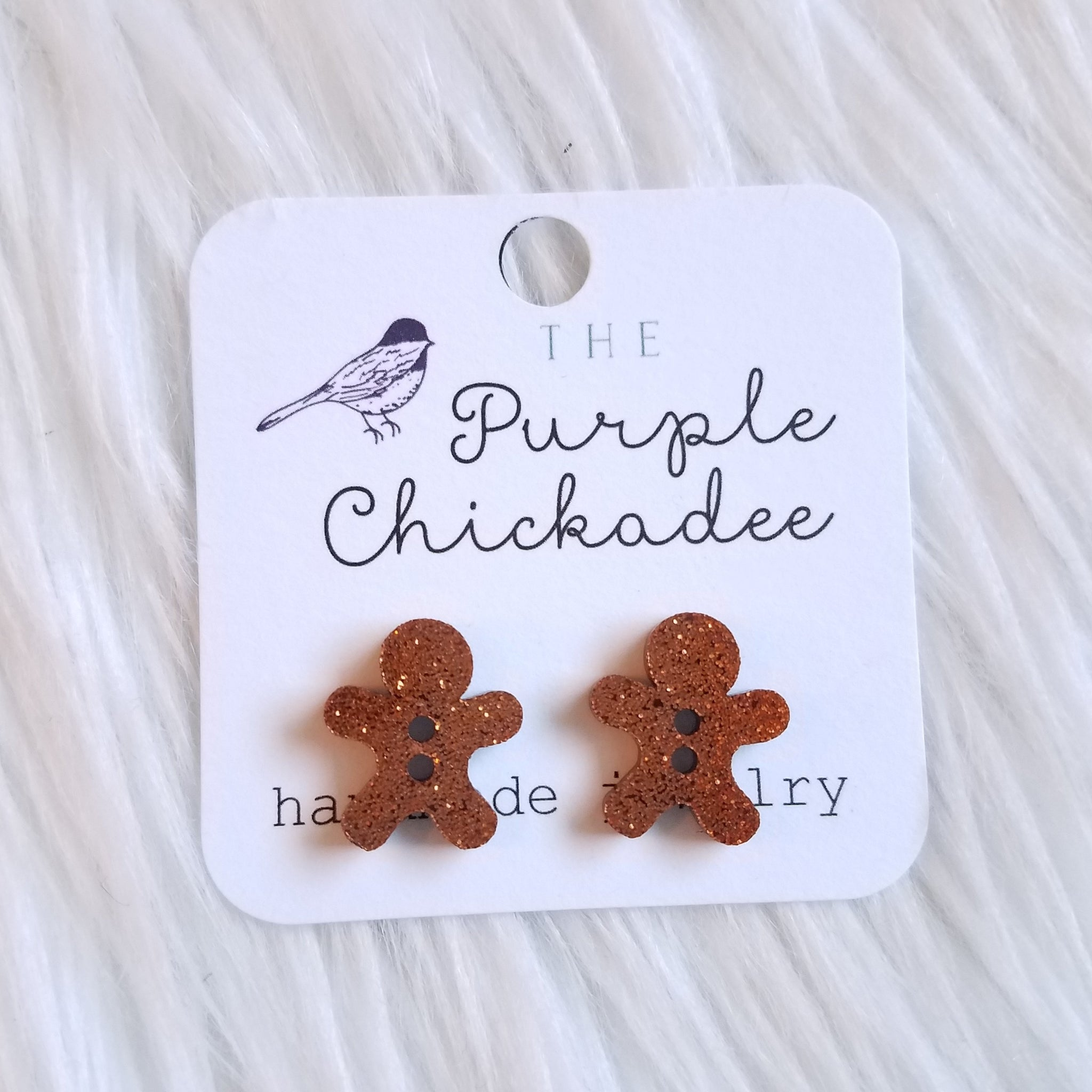 Glitter Gingerbread Stud Earrings
