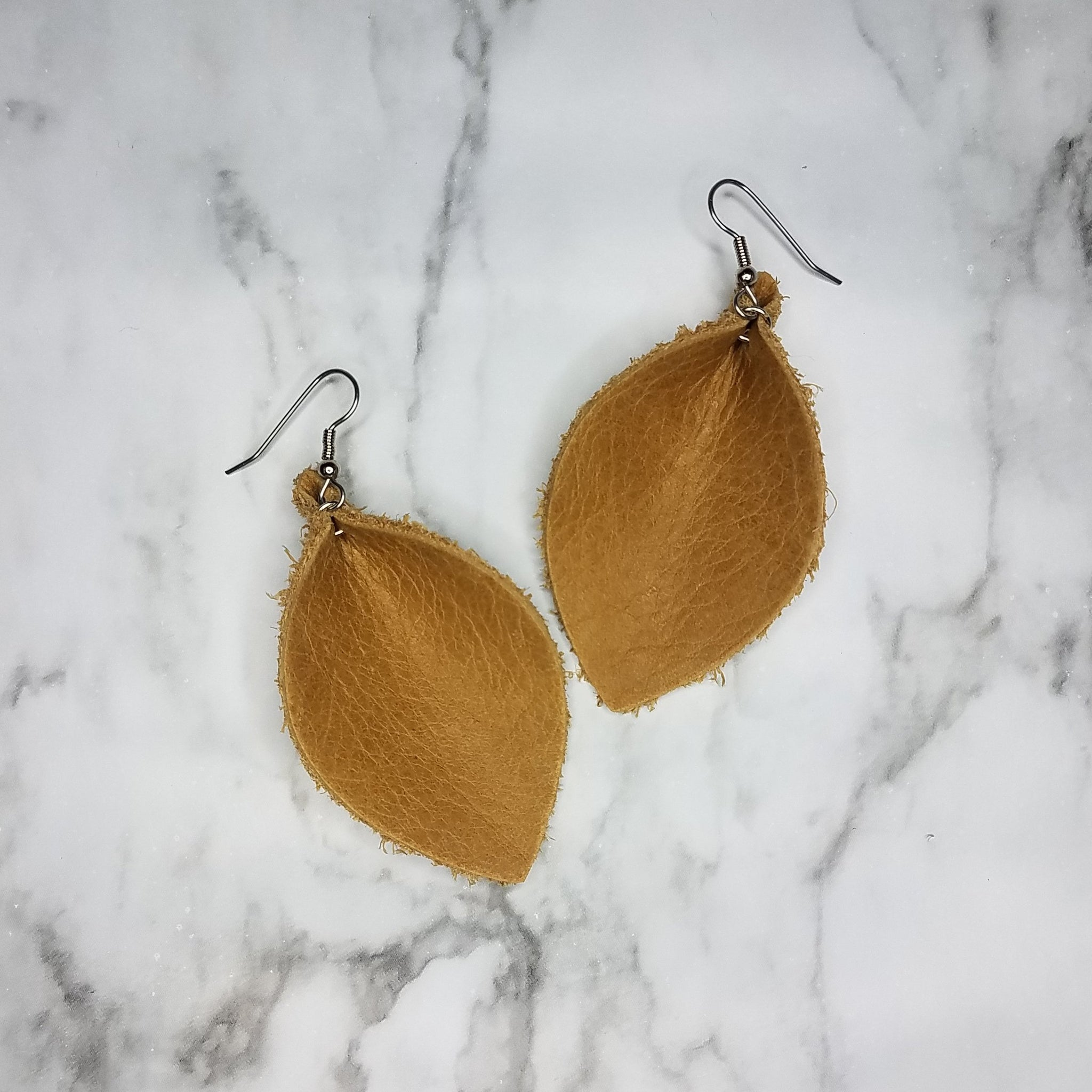 Distressed Camel Leather Leaf Earrings