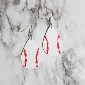 Baseball Print Leather Earrings
