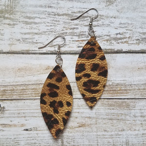 Metallic Gold Cheetah Print Leather Petal Earrings