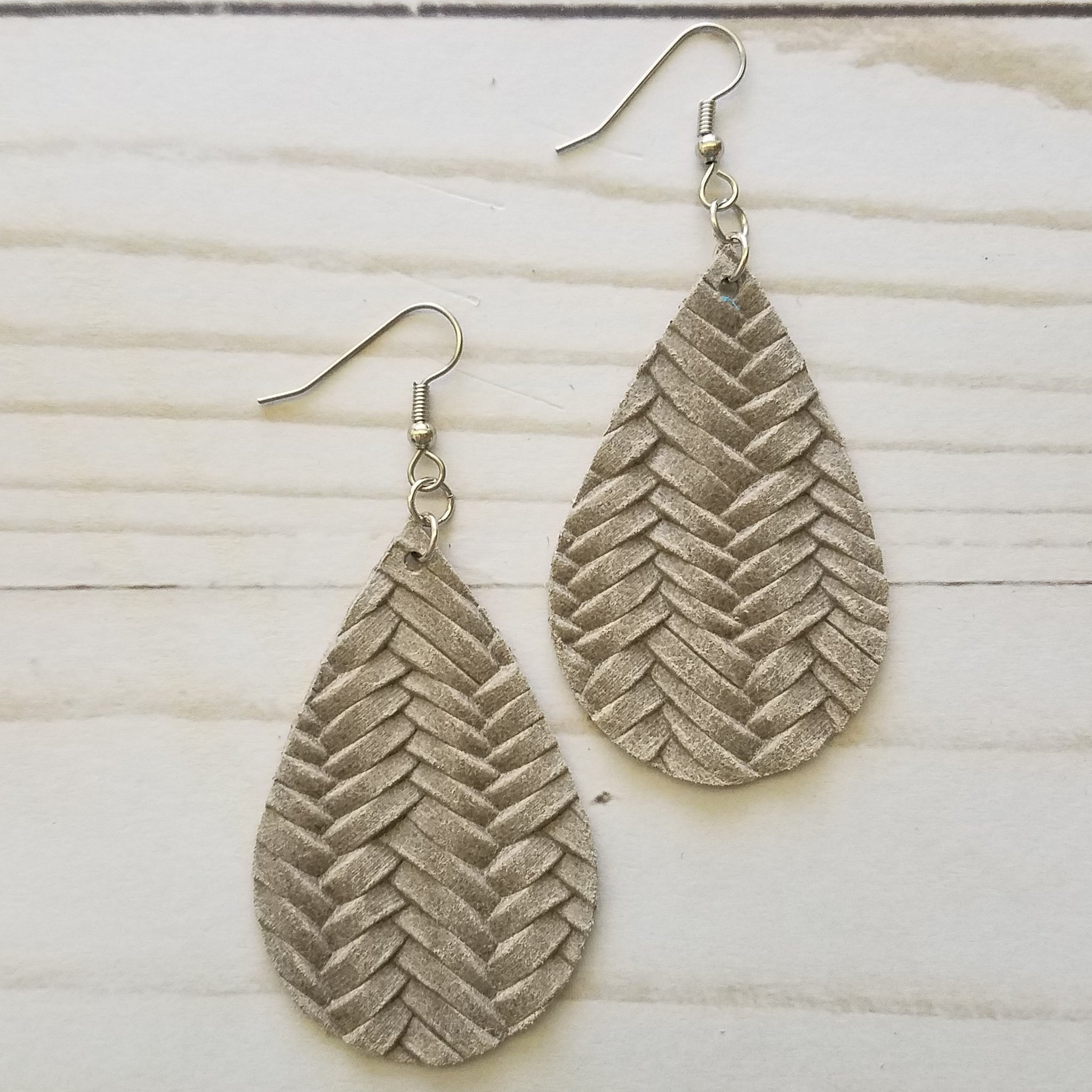 Stone Fish Tail Braid Leather Drop Earrings