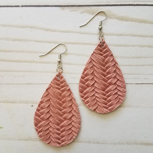Dusty Pink Fish Tail Braid Leather Drop Earrings
