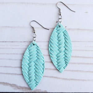 Robin Egg Blue Braided Leather Petal Earrings