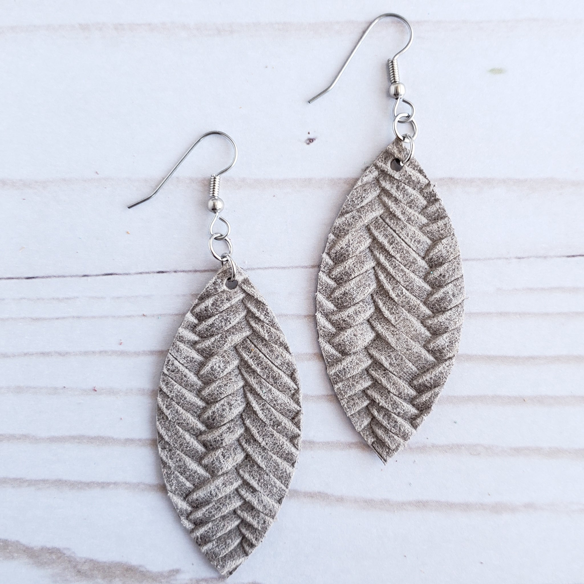 Stonewash Braided Leather Petal Earrings