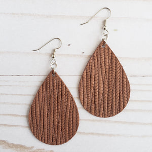 Pecan Leather Teardrop Earrings