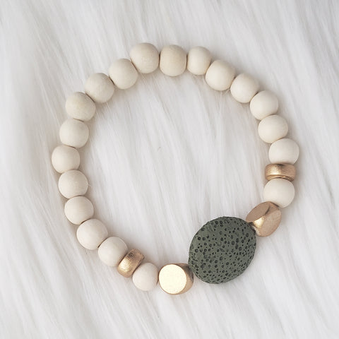 Hunter Green Round Lava Stone Bracelet