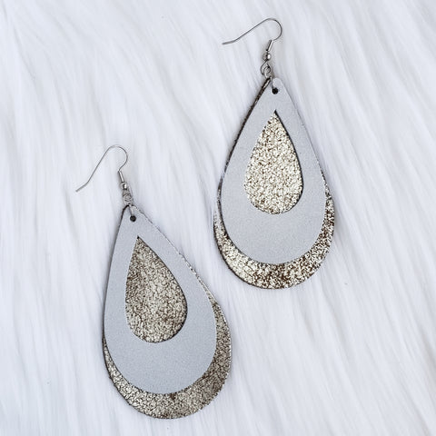 Silver Double Stacked Leather Teardrop Earrings