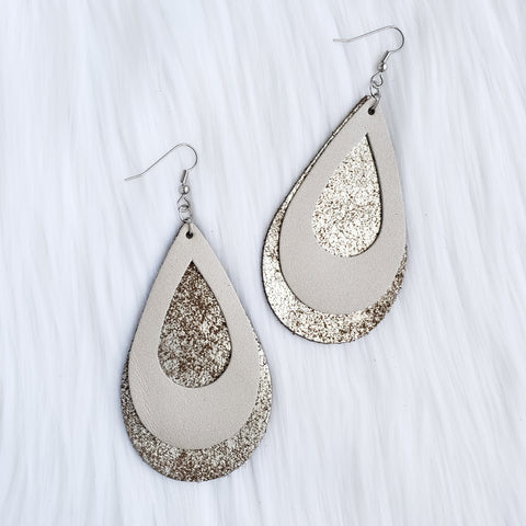 Champagne Double Stacked Leather Teardrop Earrings