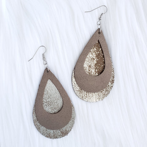 Bronze Double Stacked Leather Teardrop Earrings