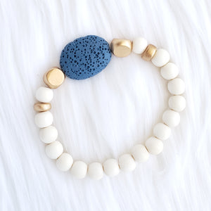 Denim Blue Oval Lava Stone Bracelet