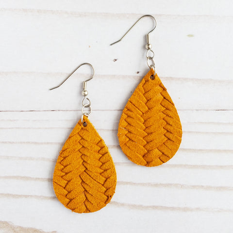 Mini Mustard Braided Leather Teardrop Earrings
