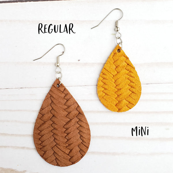 Mini Tooled Western Leather Teardrop Earrings