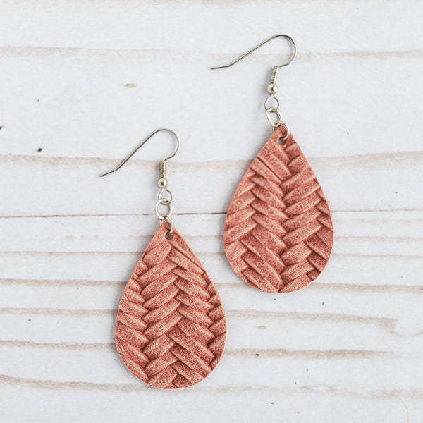 Mini Dusty Pink Braided Leather Teardrop Earrings
