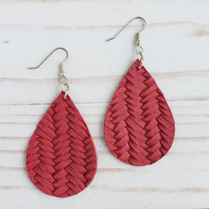 Cranberry Braided Leather Drop Earrings