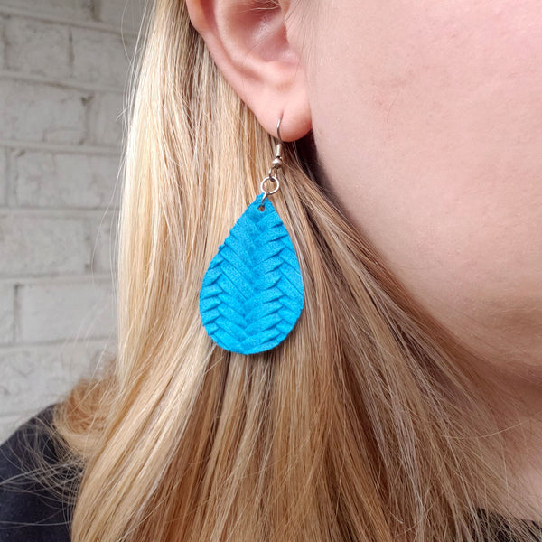 Mini Cyan Braided Leather Teardrop Earrings