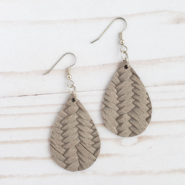 Mini Taupe Braided Leather Teardrop Earrings