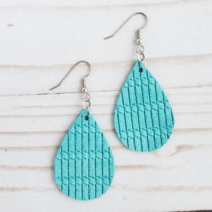 Mini Cyan Venitian Knot Leather Teardrop Earrings