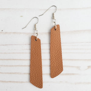 Willow Tan Leather Bar Earrings