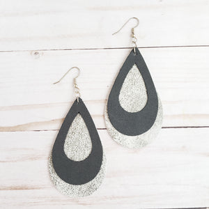 Black & Grey Double Stacked Leather Teardrop Earrings