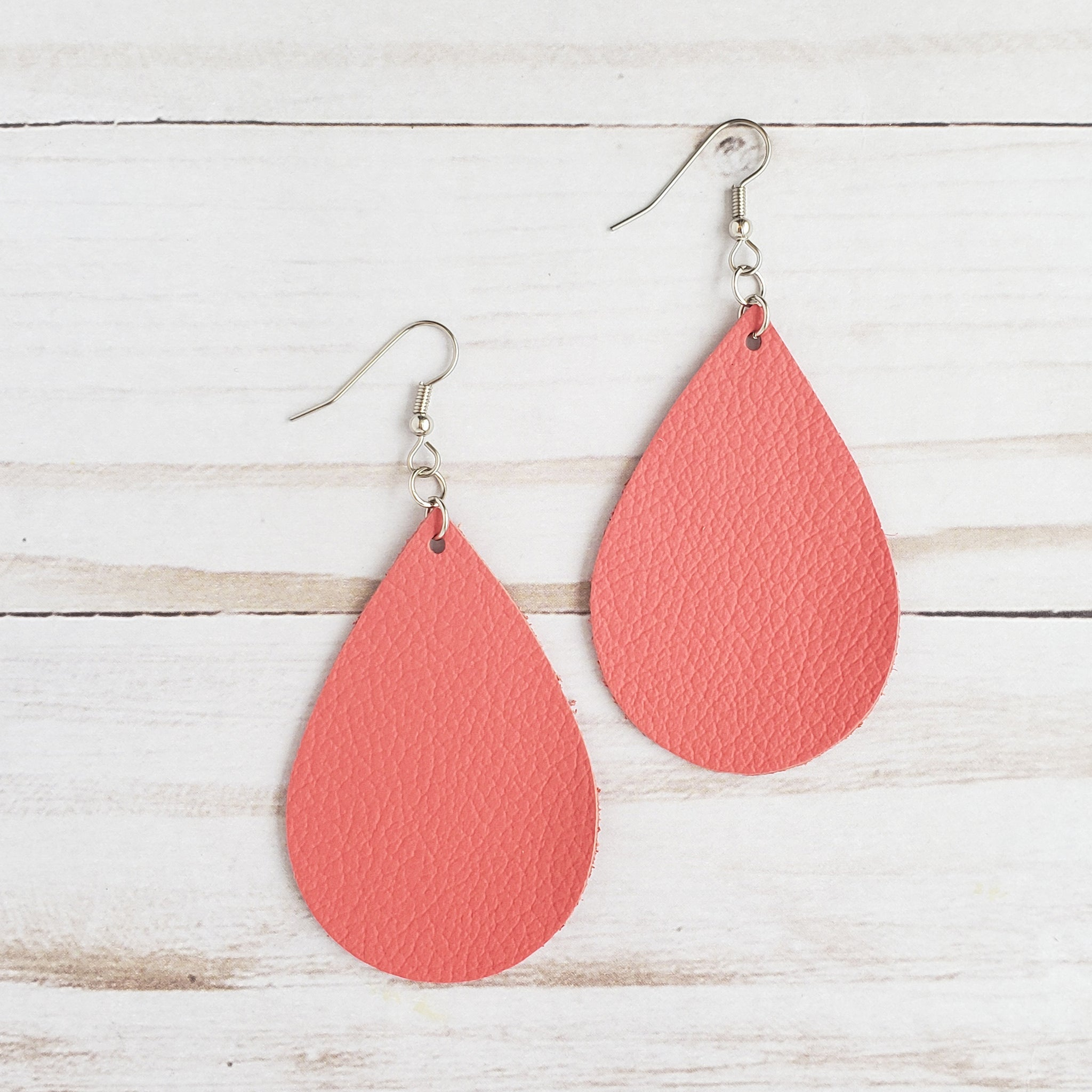 Coral Leather Drop Earrings
