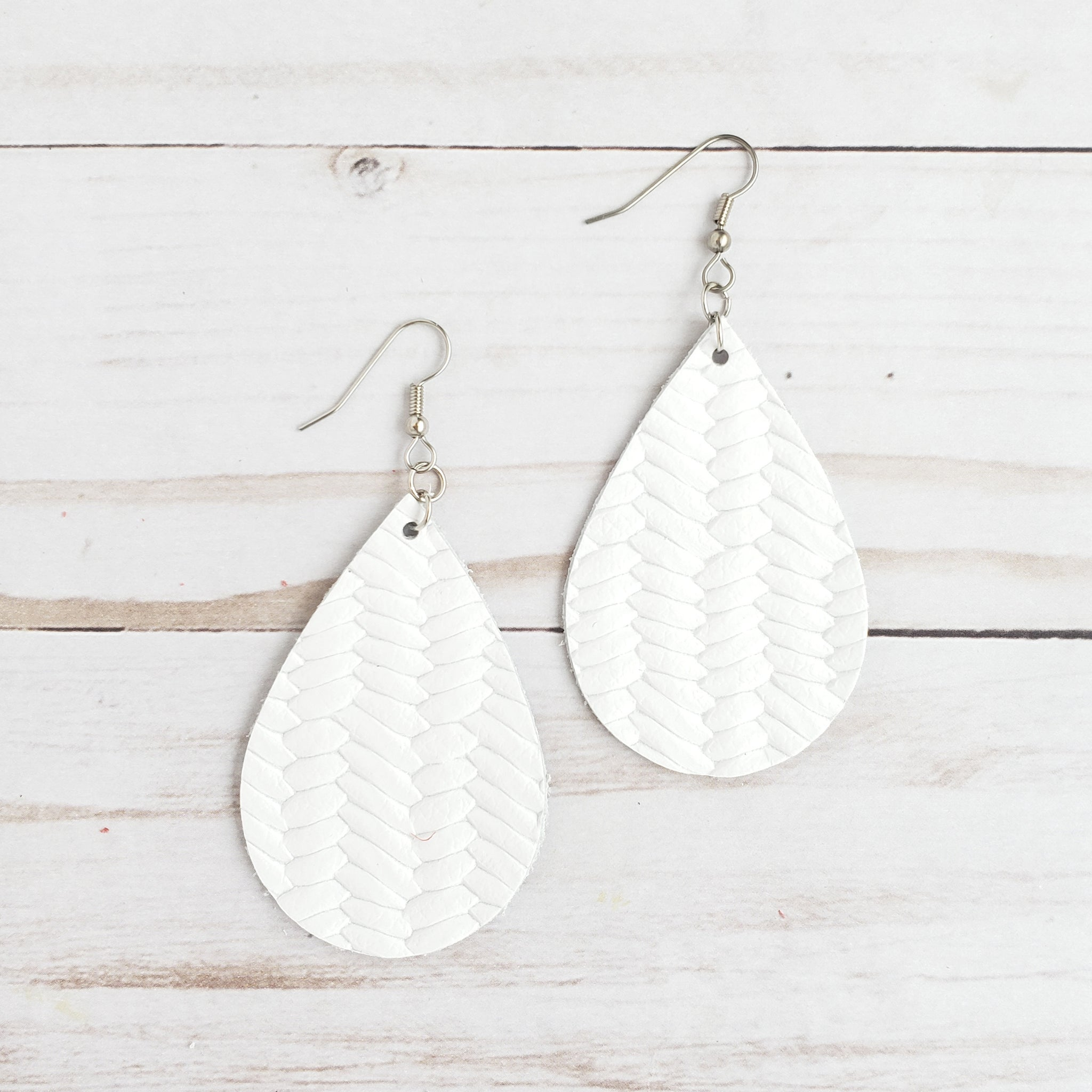 White Fish Tail Braid Leather Drop Earrings
