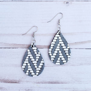 Mini Charcoal Chevron Leather Teardrop Earrings
