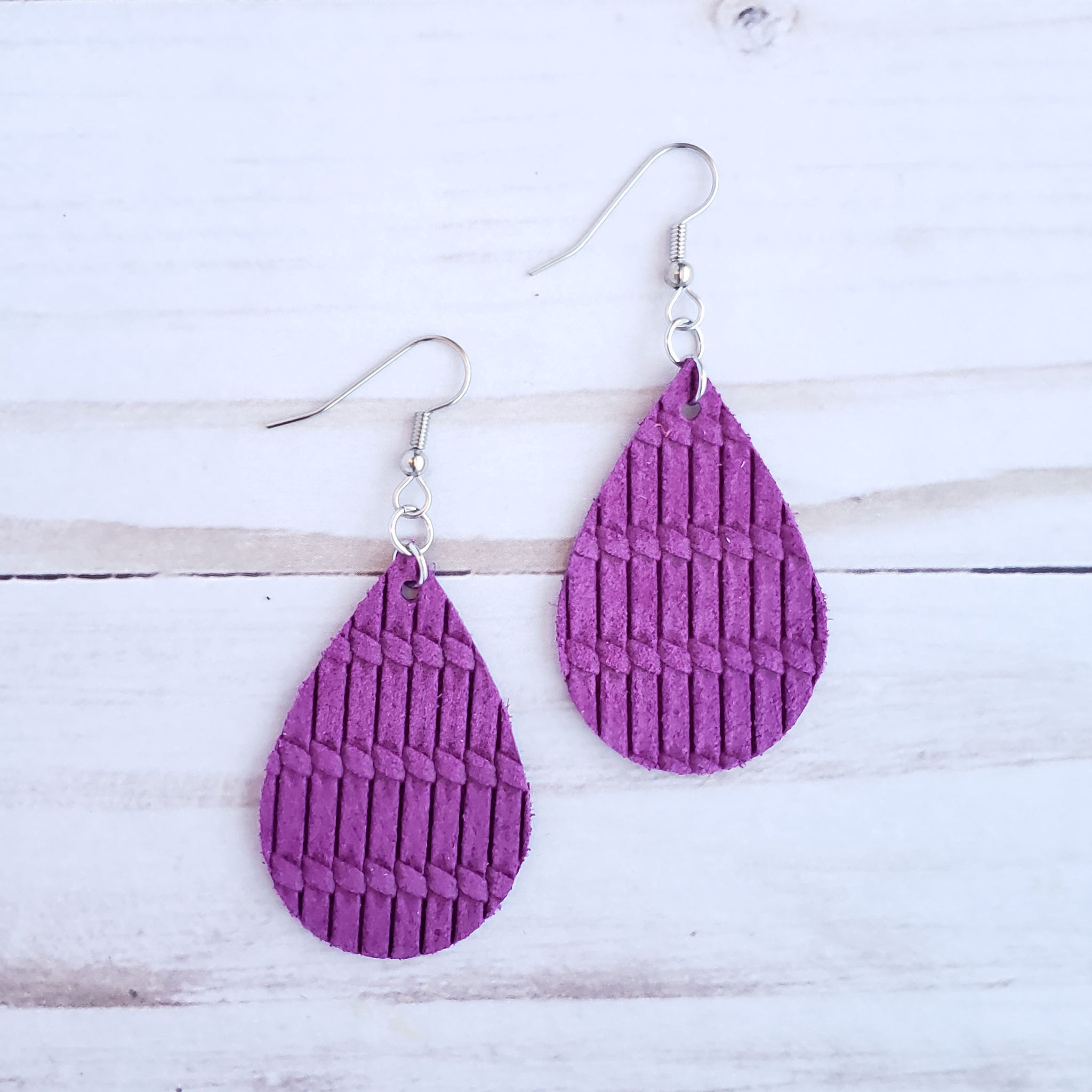 Mini Orchid Venetian Knot Leather Teardrop Earrings