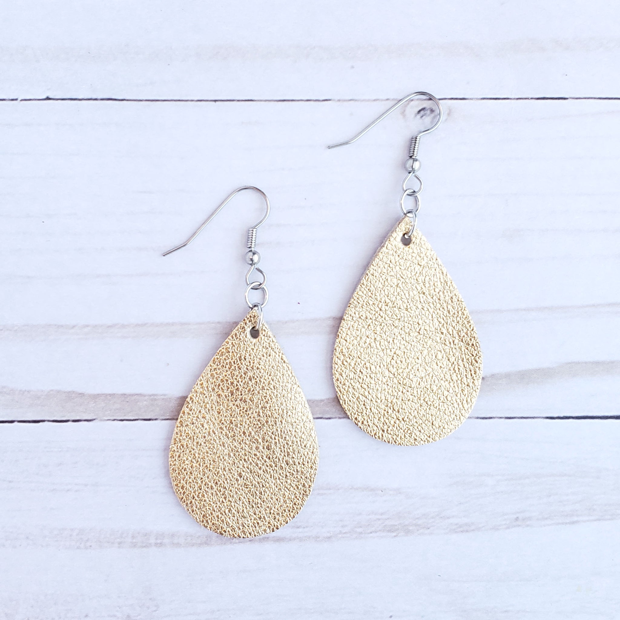 Mini Gold Leather Teardrop Earrings