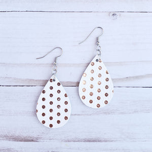 Mini Rose Gold Dotted Leather Teardrop Earrings