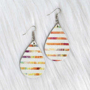 Watercolor Stripes Leather Drop Earrings
