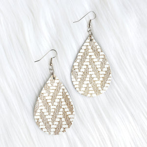 Gold Chevron Leather Teardrop Earrings