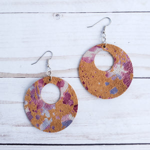 Desert Blooms Circle Leather Earrings
