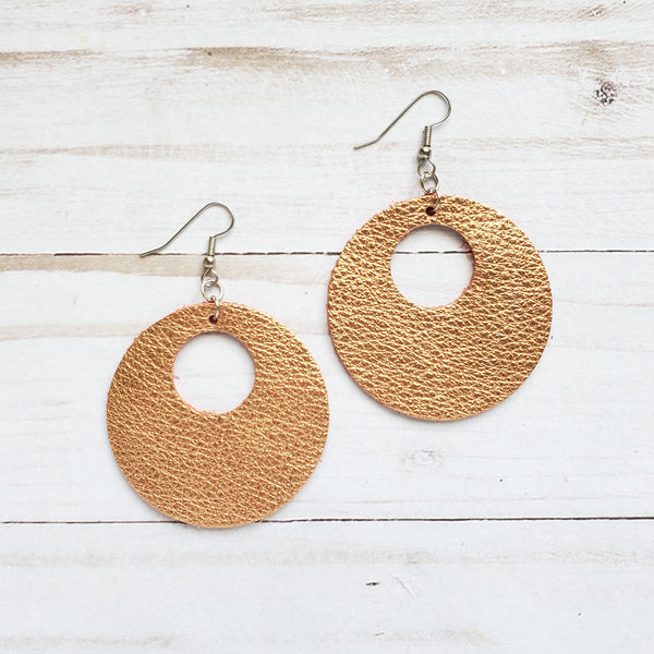 Copper Penny Circle Leather Earrings