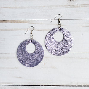 Metallic Lilac Circle Leather Earrings