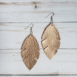 Metallic Rose Gold Feather Leather Earrings