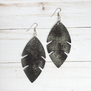 Distressed Black Feather Leather Earrings
