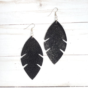 Black Shimmer Stingray Feather Leather Earrings